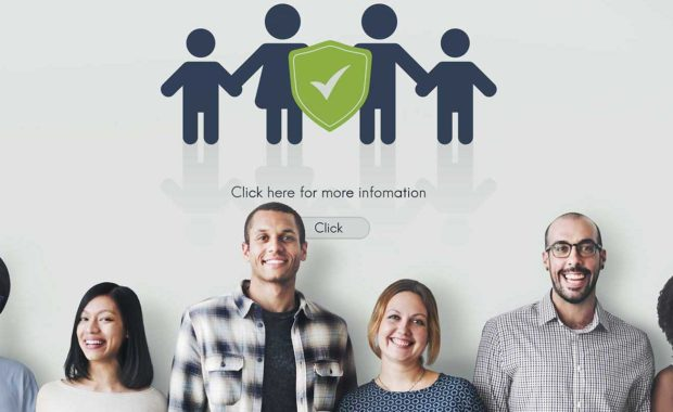 Happy employees with group health insurance