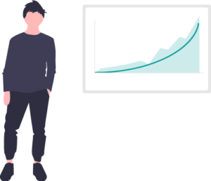 Man with growth strategy vector