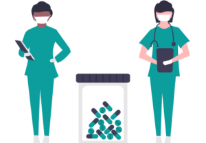 Nurses with prescription bottle vector