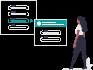 Employee choosing options vector