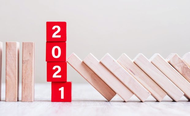 Wood blocks portraying 2021 trends