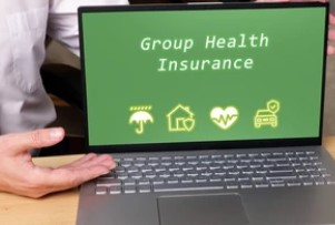 Group Health Insurance Inscription on the Laptop Screen
