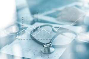 self funded healthcare business graph and Medical examination and businessman analyzing data