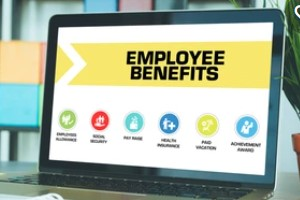 employee benefits concept on the laptop screen looking at Competitive Benefits