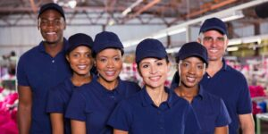 group of industrial or engineer corporate workers with insurance for manufacturing companies