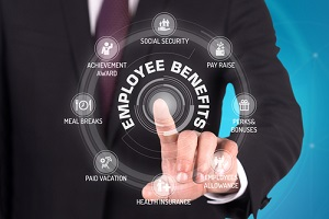 employee benefits technology communication touchscreen futuristic concept