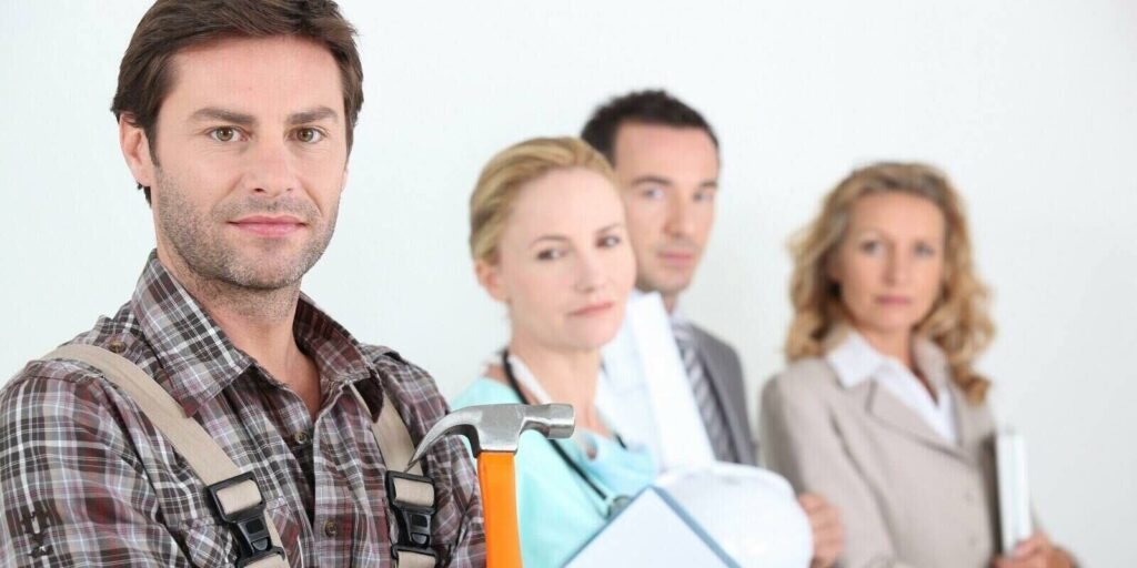 four different professions finding out individual vs group health insurance